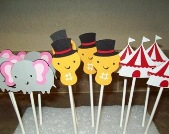 Circus Themed Cupcake Topper/ Birthday Party/ Peanut/ Elephant/ Circus Tent