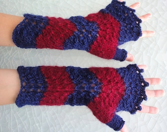 Fingerless Mittens - beautiful Shetland Old Shell Pattern