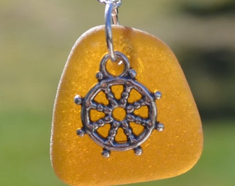 Sea Glass Jewelry Brown Jersey Shore Sea Glass with Sterling Silver Captain's Wheel