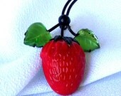 Strawberry Red Glass Brooch Signed Austria Pin Up Rockabilly