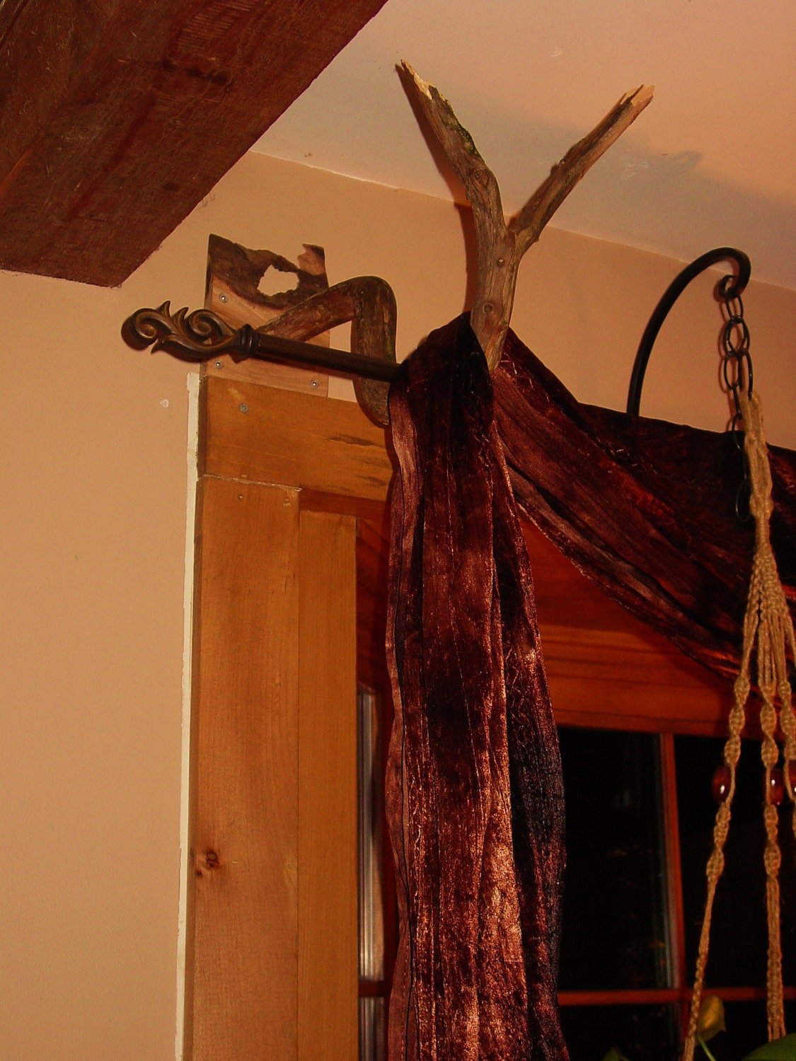 items similar to deep bend rustic branch curtain rod