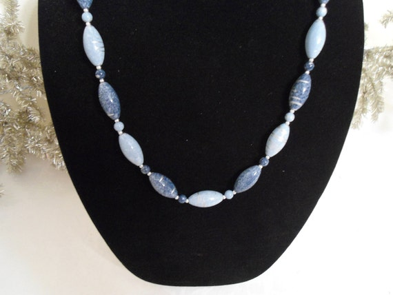 Blue and Silver Bead Vintage Necklace