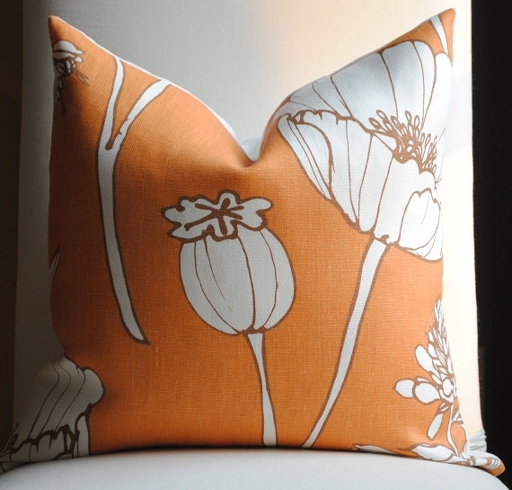 Decorative Linen Pillow Cover-18x18 -Designer Fabric- Poppyfield-Throw-Accent Pillow- Orange-Brown-White