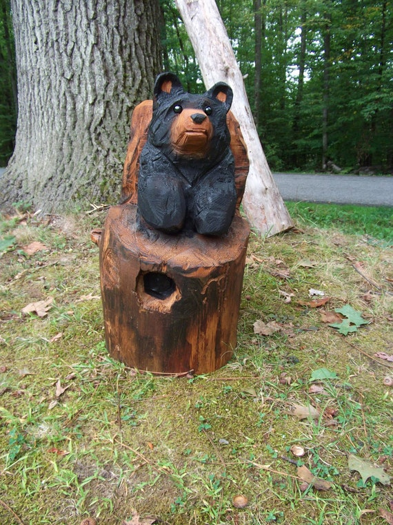 Items similar to chainsaw carved bear in a stump on etsy