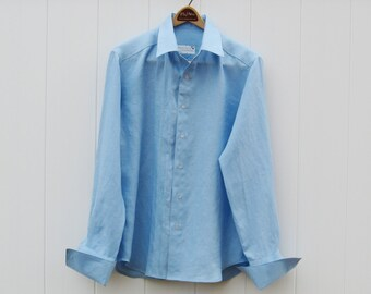 Cool Blue Linen Mens Shirt with French Cuffs Custom and Handmade for You Tall Sizes available