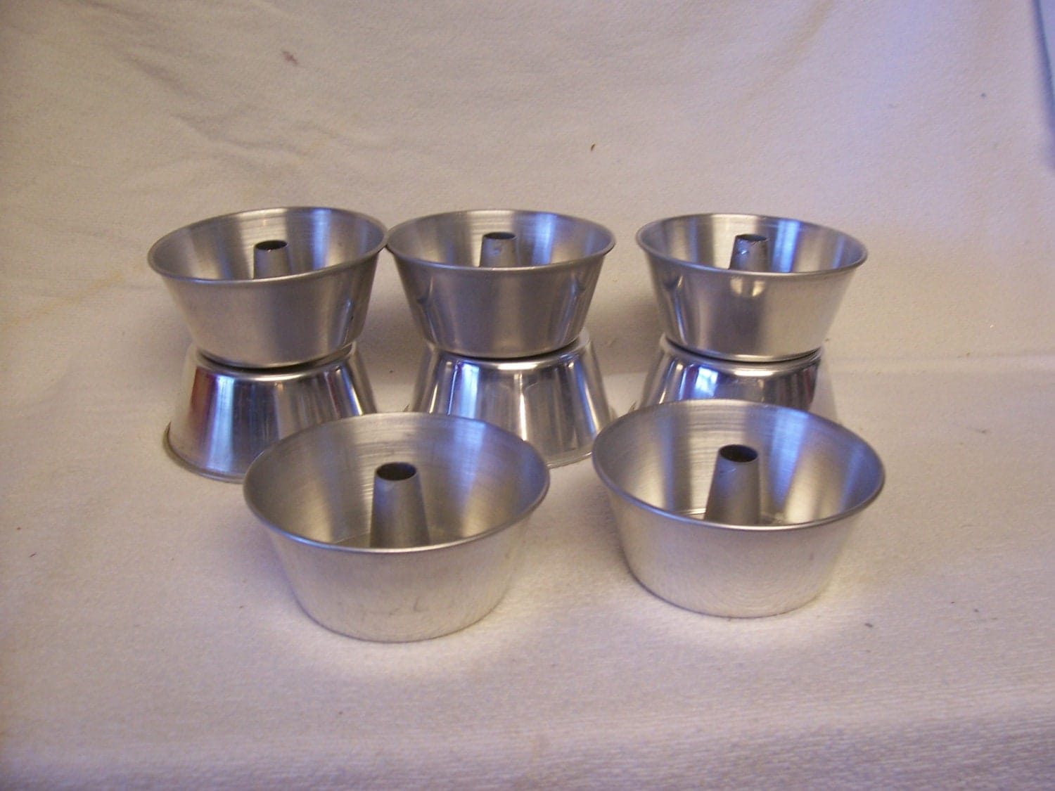 8 Vintage Mini Angel Food Cake Pans Aluminum