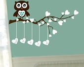 Owl Wall Decal Nursery Name Wall Decal Baby Boy Decor Baby Girl Decor Branch Decals Hearts Decal Wall Stickers Vinyl Lettering Nursery Decal