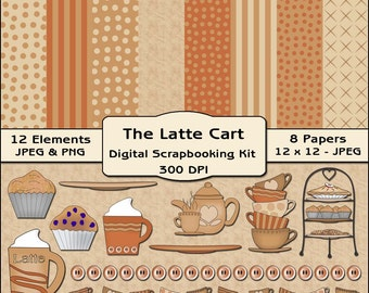 The Latte Cart Digital Scrapbooking Kit - Kitchen Background Papers & Elements / Clipart