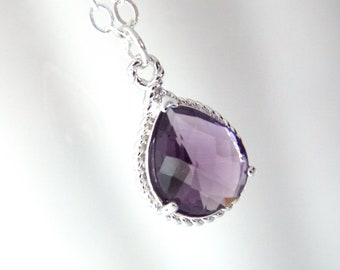 Purple Necklace, Glass Necklace, Sterling Silver, Amethyst, Tanzanite, Wedding, Bridesmaid Necklace, Bridal Necklace, Bridesmaid Gifts