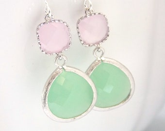 Mint Green Earrings, Light Green, Pink Earrings, Soft Pink, Light Pink, Silver, Bridesmaid Earrings, Bridal Jewelry, Bridesmaid Gifts