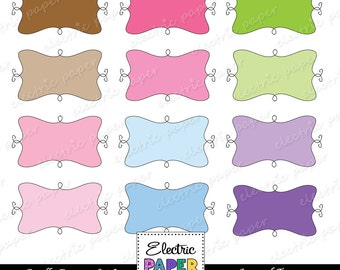Doodle Frames Colorful / Journal Tags - bright colors - instant download