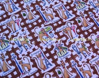 "W217A  - Vinyl Waterproof Fabric - Lovely cat - Coffee - 27""x19""(70cmX50cm)"