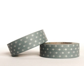 White on Grey Dots Washi Tape