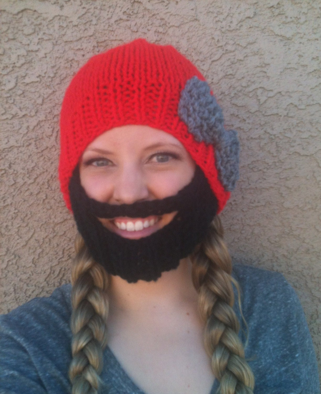 Knitting Pattern Beard Beanie : Bearded Beanie Gray Hat W Red Bow Black Beard Warm Knit Face