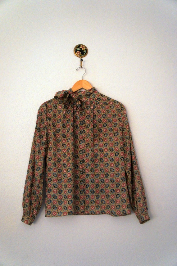 Vintage Givenchy Floral Paisley Print Ascot Bow Button Down Shirt Size S or M