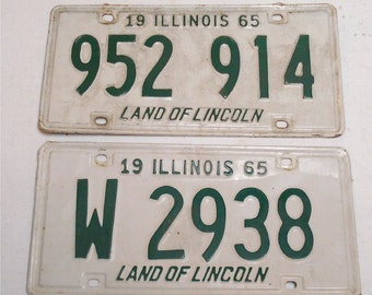 1965 License White Green Illinois