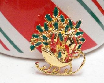 Santas Sleigh Pin Gold Tone