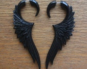 Black Fake Gauge Earrings - CELESTE - Hand Carved Natural Horn Wings - Organic Tribal Jewelry