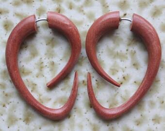 EBB Hoops - Tribal Fake Gauges - Hand Carved Tan Saba Wood - Hook Style Earrings