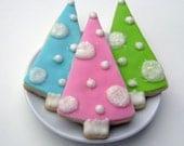 Retro Christmas Tree Sugar Cookies - Pink, Turquoise, Lime - CHRISTMAS PRE-ORDER