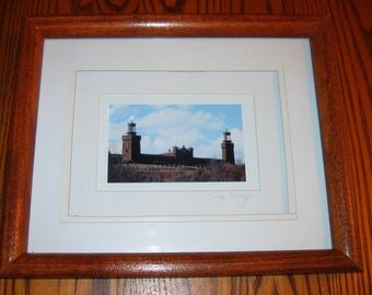 "TWIN LIGHTS Lighthouse portrait Hand Signed by Artist 9"" by 11"" Triple Matted Framed Shadowbox"