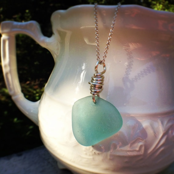 Bright Smooth Pretty Vermont Beach Glass chunk with silver plate wire wrap, Jewelry for MERMAIDS