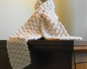White hand knit cowl/scarf