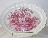 Vintage Taylor Smith Taylor Red Transfer Ware Platter