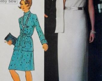 Vintage 1970s Dress & Cardigan Pattern-Jiffy Simplicity 5957-Bust 36 Factory Folded