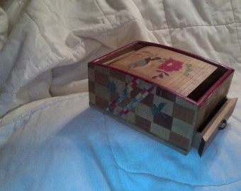 Vintage Occupied Japan Wooden Jewelry Box with Roll top lid 4 by 6 inches