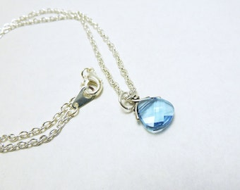 Aquamarine Briolette Necklace - Light Blue Swarovski Drop
