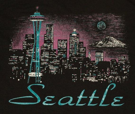 Vintage 1980s Seattle Washington Skyline Space Needle T-Shirt Tee Shirt