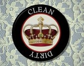 """CROWN King Queen Royalty Dishwasher Clean/Dirty 2.25"""" large Round  Magnet"""