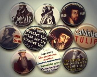 "John CALVIN Calvinism French theologian 10 Pinback 1"" Buttons Badges Pins"