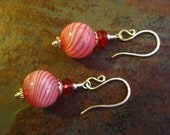 Red and White Candy Cane Swirl Blown Glass Christmas Ornament Earrings