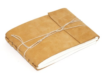 """Rustic Leather Journal or Leather Sketchbook, Light Brown, Medium Sized Notebook, Handbound Coptic Stitch - 3 3/4"""" x 5 1/2"""""""