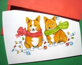 Dog Christmas Card - Corgi Dog Christmas