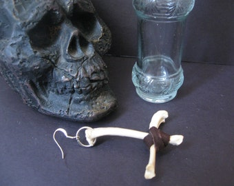 Coyote Bone Inverted Cross Earring ( upside down cross earring)