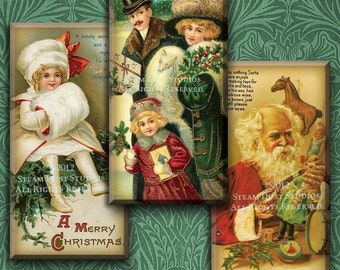 Victorian Old Fashioned Christmas - Digital Collage Sheet - 1x2 inch Domino Tile Images - Instant Download and Print