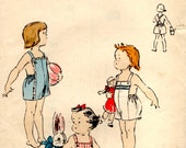 vintage 1952 VOGUE sewing pattern baby toddler SUNSUIT romper SIZE 1 suspenders retro summer outfit