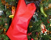 """Reserved for Ashley """"Red and Black Christmas Stocking"""""""