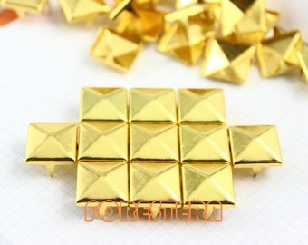 12mm Gold Pyramid Stud Punk Rock Leathercraft Stud (JP12)
