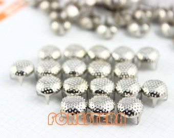 100Pcs 9mm Silver Dotted Round Studs Metal Studs (SBL09)