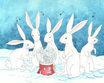 Rabbits Holiday Card Giclée Print