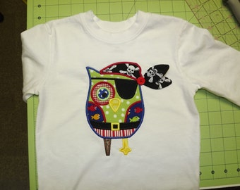 Custom Personalized Embroidered Pirate Owl Applique T-Shirt for Boys and Girls