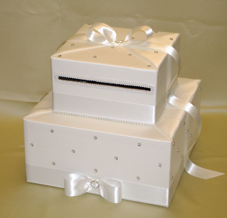 Card Box For Wedding: Elegant Custom Made All White Wedding Card Box-2 Tier