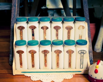 Vintage Griffith Standing Blue Spice Wooden Rack with Milk Glass Spice Jars Art Deco