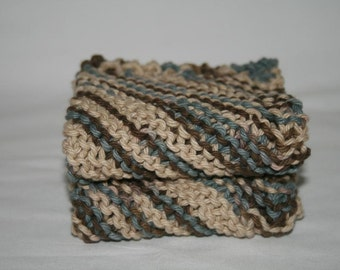 Knit Cotton Dish Cloths - Wash Cloths - Set of Two