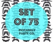 75 Mustache Cut Outs - Die Cuts - Photo Props - Party Decorations - Garlands - Party Straws - Photo Booths