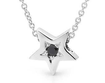 Sterling Silver and Black Spinel small STAR Necklace, small silver star pendant